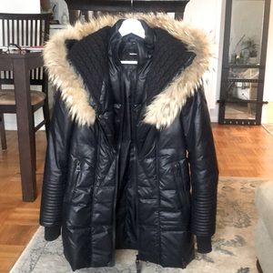 Rudsak nylon and leather jacket with real fur trim